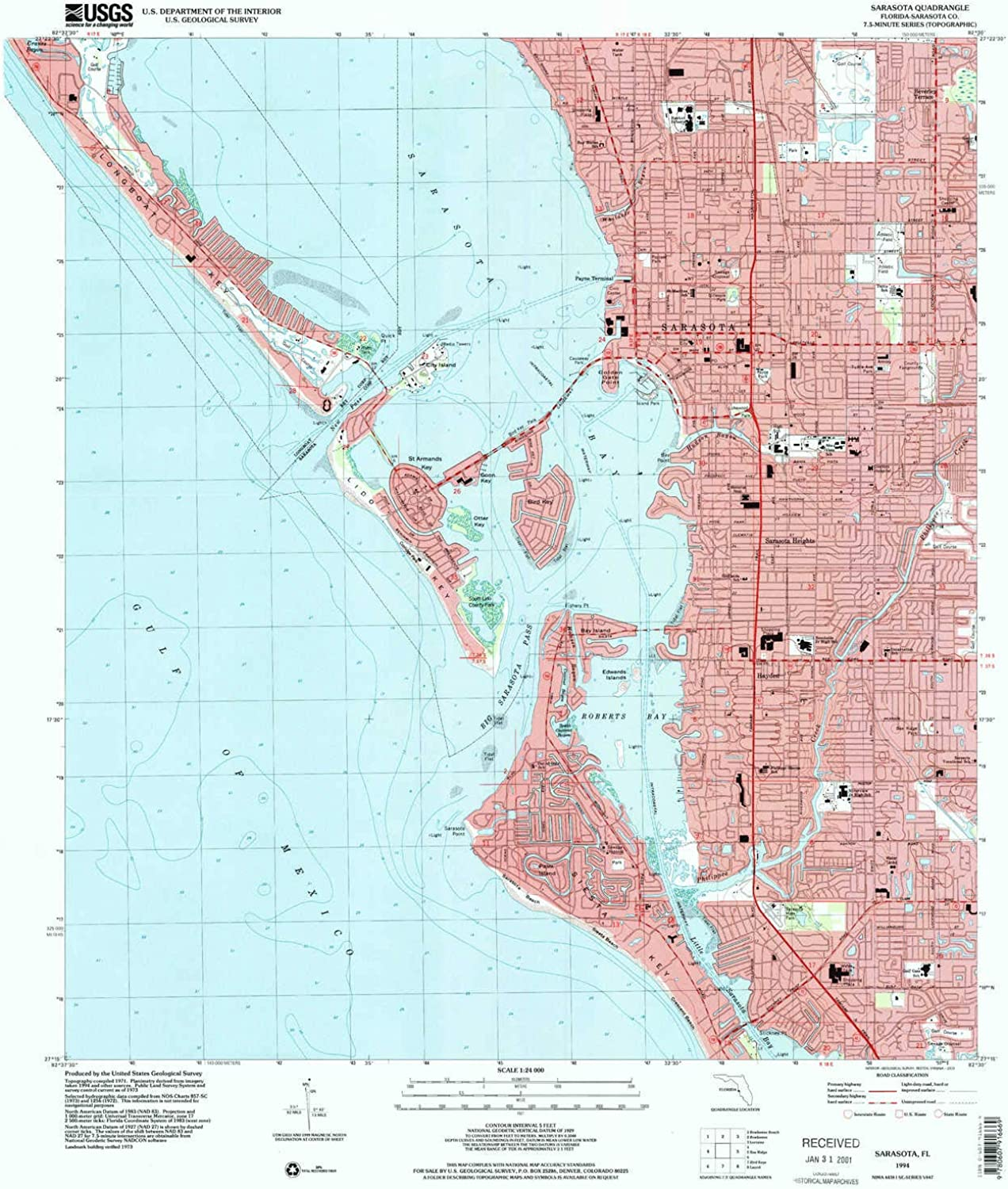 Sarasota FL topo map, 1 24000 Scale, 7.5 X 7.5 Minute, Historical, 1994, Updated 2000, 26.9 x 24 in