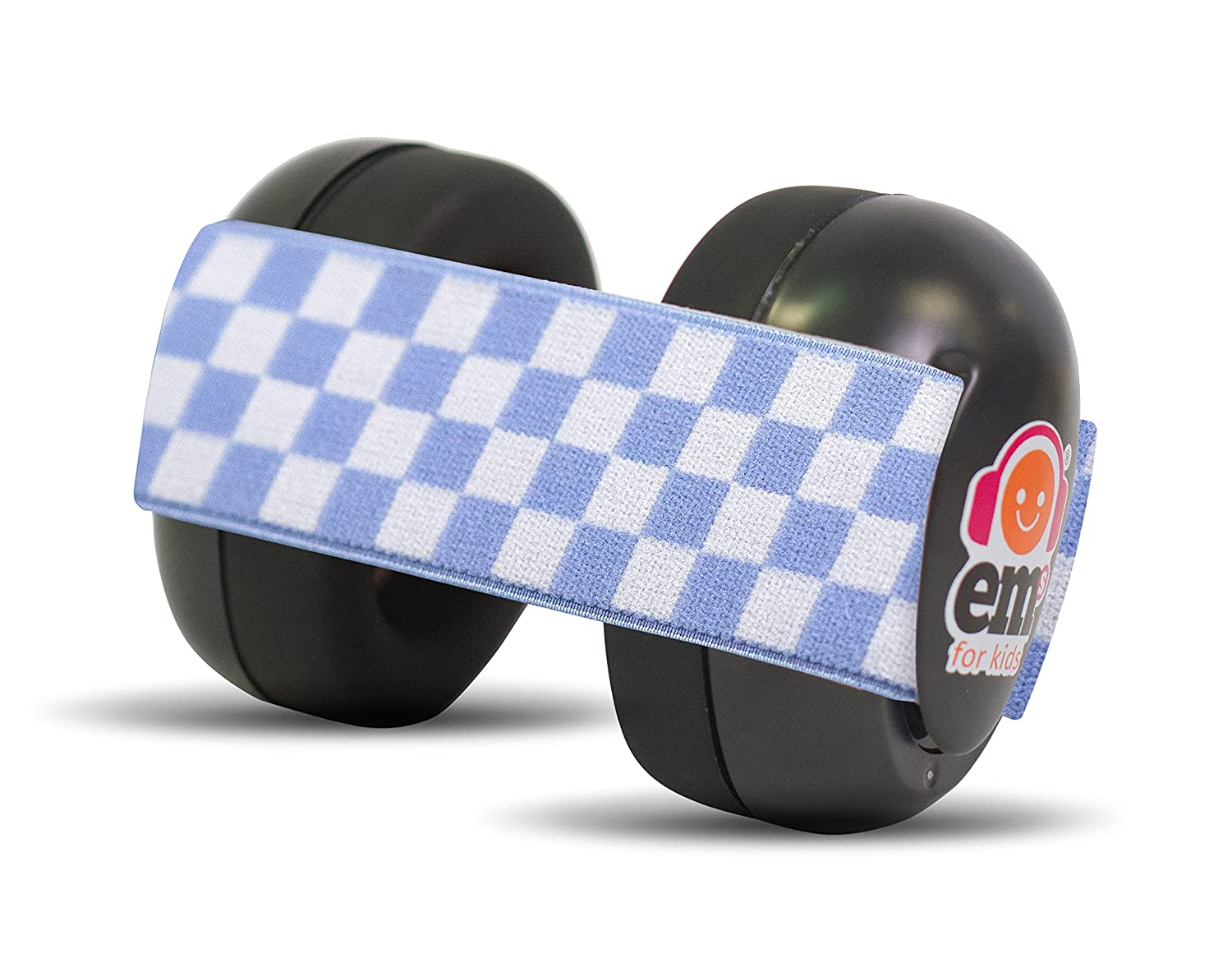 Ems for Kids Baby Earmuffs - BLACK with Blue/White. The original baby earmuffs, now MADE IN THE USA! Great for concerts, music festivals, planes, NASCAR, motor racing, power tools and MORE!