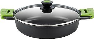 BRA PRIOR - Cacerola baja con tapa de cristal y asas de silicona, apta para todo tipo de cocinas incluida inducción y horno, 32 cm