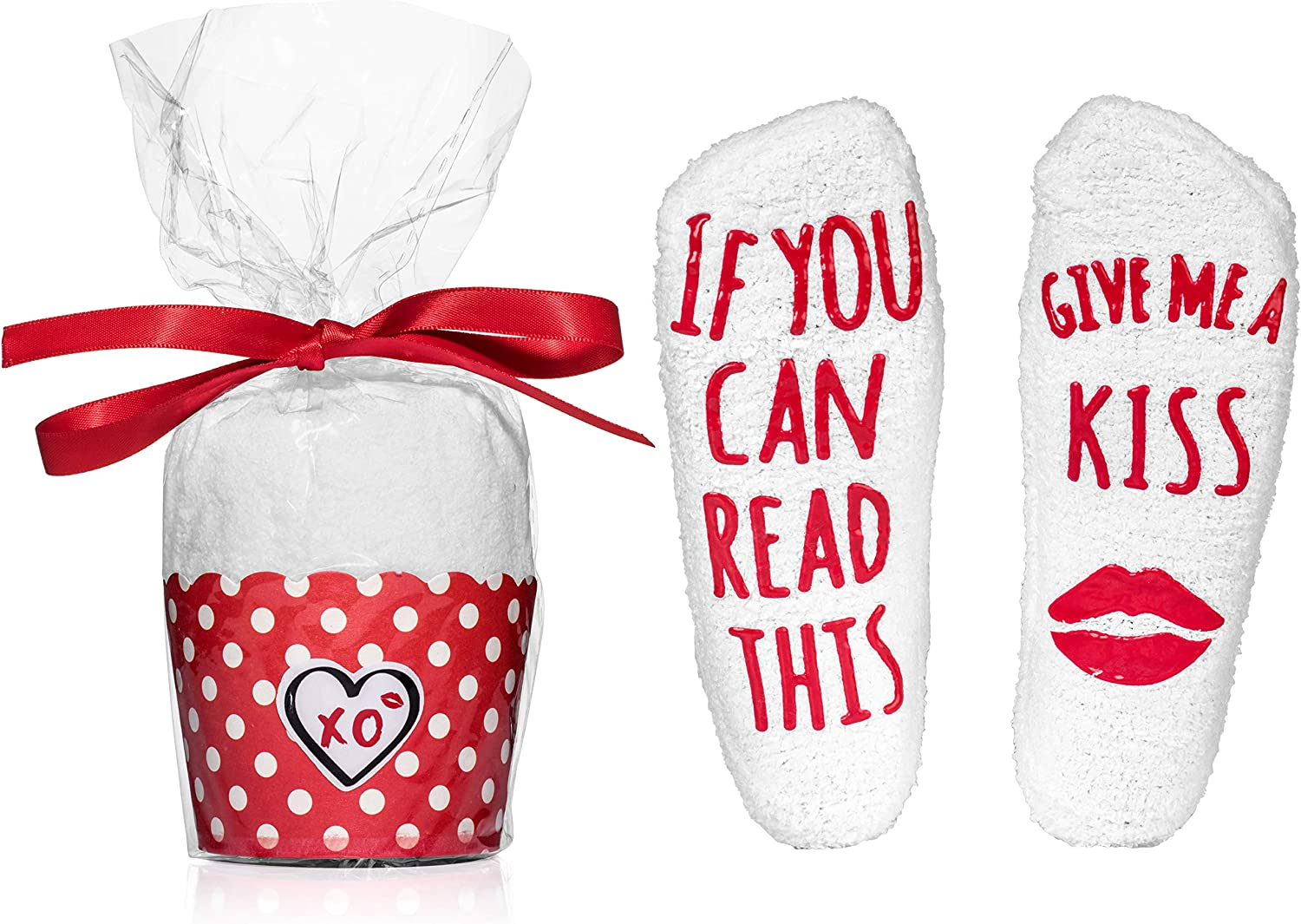 """""""Give Super beauty product New item restock quality top Me A Kiss"""" Valentine Packaging Cupcake Socks in"""