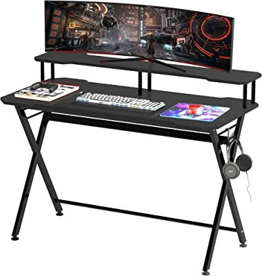 HOMCOM 55 inch Gaming Desk Racing Style Computer Office PC Gamer Workstation with Elevated Monitor Stand, Headphone Hook, Black