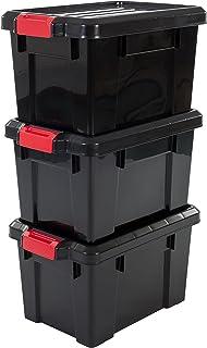 Iris Ohyama 135735sk-210Power Box Set de 3cajas de almacenamiento de plástico negro, 46 x 29.7 x 25.7 cm