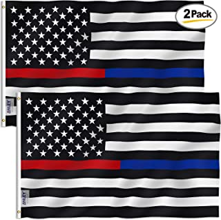 Anley Pack of 2 Fly Breeze 3x5 Foot Thin Blue Line and Red Line USA Polyester Flag - Vivid Color and UV Fade Resistant - Honoring Law Enforcement Officers and Firefighter Polyester Flags 3 X 5 Ft