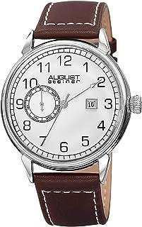 ساعة كوارتز سويسري اينديفور بعرض انالوج وسوار جلد بدرزات للرجال من اوغست شتاينر