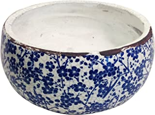Old World Vintage Blue and White Floral Ceramic Garden Pots 2 Sizes Available (Large)