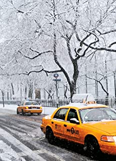 New York Taxis in Snow, New York Christmas Cards Boxed Set of 12 Holiday Cards And 12 Envelopes. Made In USA