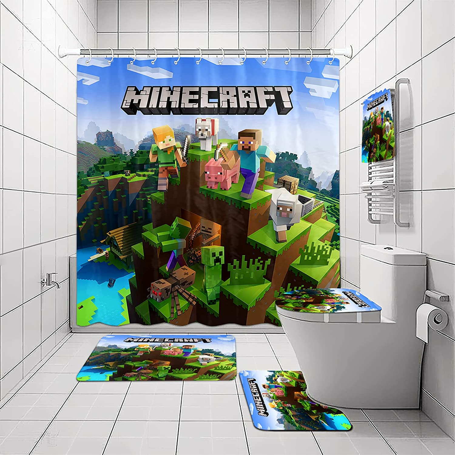Game Shower Curtain Sets with Non-Slip Lid Max 43% OFF SEAL limited product Rug Cover Toilet and