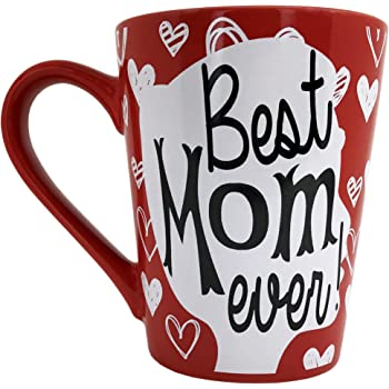 KINREX Mothers Day Coffee Mug Gifts - Best Mom Ever Ceramic Tea Cup - Birthday Presents for Mothers and Grandma - Red - 12 Oz.