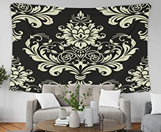 Pamime Home Decor Tapestry for Floral Pattern Damask Background Gold Black Ornament Baroque Wall Tapestry Hanging Tapestries for Dorm Room Bedroom Living Room(80x60 Inches(200x150cm) Tapestry