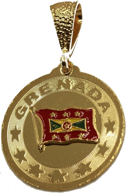 Diamantados of Florida Grenada Flag Pendant - Granada Flag 18k Gold Plated Pendant with 22 Inch Chain
