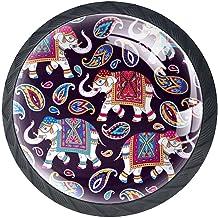 AITAI Set van 4 deurknop decoratieve handgreep olifant Indiase elegante toevoeging voor kast lade dressoir slaapkamer