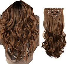 FESHFEN Clip in Hair Extensions 7 PCS Full Head 20 inch Curly Wave Synthetic Clip Hair Piece Wavy Hairpiece for Women Girls