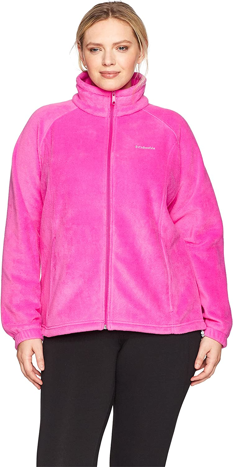 Columbia Women's Plus Sizetested Tough in Pink Benton Springs Fz Size Tested Full Zip Jacket, Pink Ice, 2X