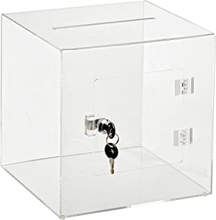 AdirOffice 10'' x 10'' Acrylic Ballot Box Donation Box with Easy Open Rear Door - Durable Acrylic Box with Lock - Ideal for Voting, Charity & Suggestion Collection - Clear