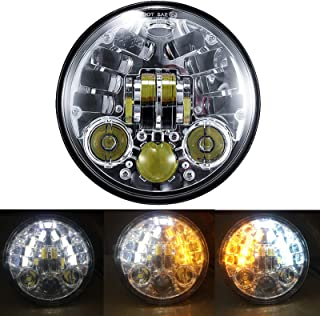 """Linya 5.75"""" inch Round LED Motorcycle Headlight with Amber Turn Signal Lights and White DRL for Sportster Street Bob Night..."""