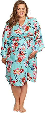 0056706a043 PinkBlush Maternity Floral Plus Size Dressing Robe