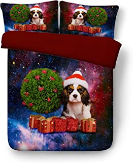 Royal Linen Source 3PCS Beautiful King Charles Spaniel with Christmas Tree 3D Bedding Set Twin Full Queen King Bed Set Duvet Cover (JF579, Full)