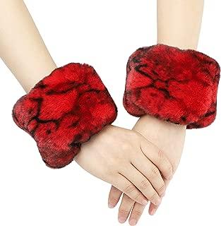 La Carrie Women's Snakeskin Print Faux Fur Wrist Cuffs,Winter Fox Furry Bands Arm Warmer