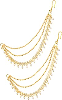 MEENAZ Women's Gold Plated Bahubali Pearl Ear Chain Hair Accessories Jhumkas Jhumki Traditional Fancy Earrings   Support S...