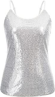 Women's Plus Size Sequin Tops Glitter Shimmer Sleeveless Cami Tank