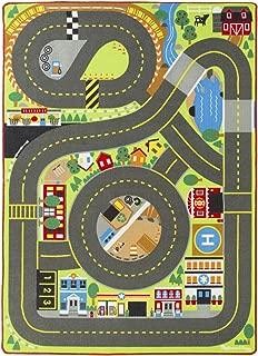 Melissa & Doug Jumbo Roadway Activity Rug (4 Wooden Traffic Signs, Oversized Multi-Roadway Activity Rug, 79