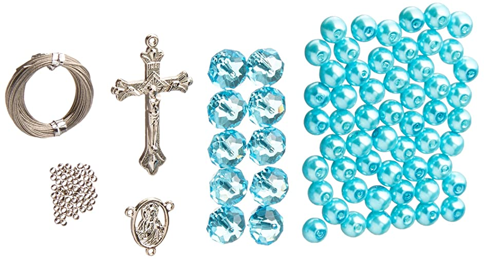 Linpeng Crystal & Pearl Beads Rosary DIY Kit, Turquoise Blue