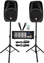 "Rockville Package PA System Mixer/Amp+ 15 inch Speakers+Stands+Mics+Bluetooth, 15"" (RPG2X15)"