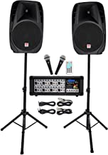 Rockville Package PA System Mixer/Amp+ 15 inch Speakers+Stands+Mics+Bluetooth, 15