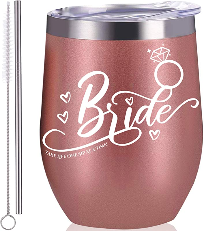 Bride Wine Tumbler Rose Gold Wine Tumbler 12 Oz Stainless Steel Gifts For Bride To Be Wedding Engagement Bridal Shower Decorations Bachelorette Gift Idea Perfect Gift For Bride Party Supplies