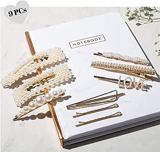 珍珠发夹 - 9 个女士发饰 - 波比别针珍珠发夹和女士发夹 - 大号金发别针带水钻 - 爱发夹 - 女孩发夹