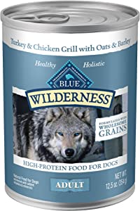 Blue Buffalo Wilderness High Protein Natural Adult Wet Dog Food plus Wholesome Grains, Turkey & Chicken Grill 12.5-oz cans (Pack of 12)