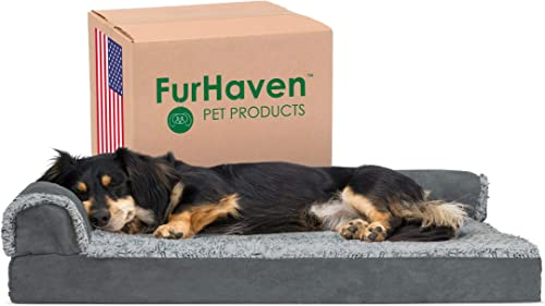 Furhaven Pet - Two-Tone L Shaped Orthopedic Corner Sofa Dog Bed, Orthopedic Sofa Dog Bed, Round Sherpa Blanket Snugge...