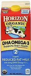 Horizon Organic, 2% Reduced Fat Milk with DHA Omega-3, Ultra Pasteurized, Half Gallon 64 oz