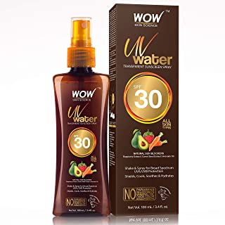 WOW Skin Science UV Water Transparent Sunscreen Spray SPF 30 - Quick Absorbing - Oil Free - with Raspberry Extract, Carrot...