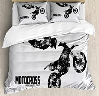 Lunarable Dirt Bike Duvet Cover Set, Weathered Effect with Biker Silhouette and Motocross Racing Moves Theme, Decorative 3 Piece Bedding Set with 2 Pillow Shams, Queen Size, Coconut Black