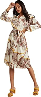 Scarf Print Pleated A-Line Midi Women's Dress with Tie Belt