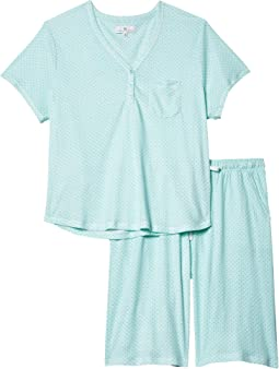 Plus Size Sky and Forest Short Sleeve Bermuda Pajama