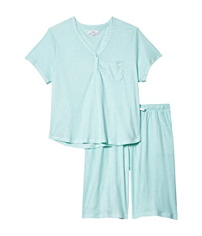 Karen Neuburger Plus Size Sky and Forest Short Sleeve Bermuda Pajama (Sage Geo) Women