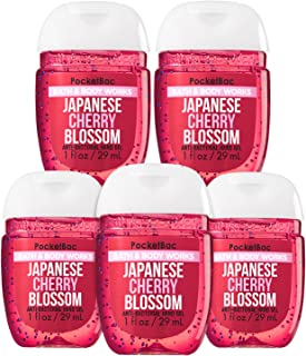 Bath & Body Works Japanese Cherry Blossom 5-Pack PocketBac Sanitizers Anti-Bacterial Hand Gel 1 Fl Oz