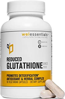 WelEssentials Glutathione Antioxidant and Herbal Complex - 500mg x 60 Vegan Capsules - Pure Reduced Glutathione with Organ...