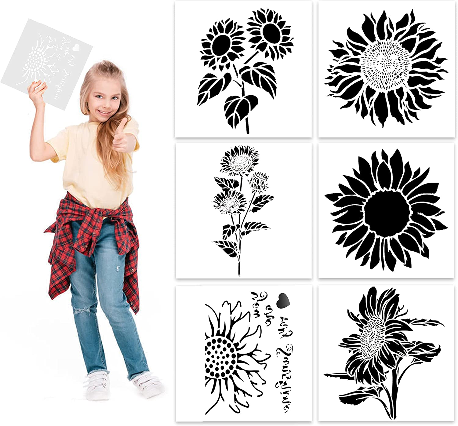6 Pieces Sunflower Stencil Kit, DIY Decorative Sunflower Stencil Template for Painting on Walls Furniture Crafts Home Decor