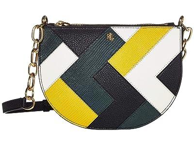 LAUREN Ralph Lauren Multi Patchwork Sutton 22 Crossbody (Black/Racing Green/Sundance/Vanilla) Handbags
