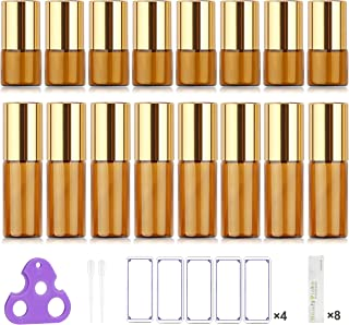 Glass Roller Bottles for Essential Oils, Gift Box Package per Bottle, Stainless Steel Roller, Opener, Adhesive Labels, Droppers n Funnels Included, Handy Picks (16 Pack (1ML & 5ML), Amber)
