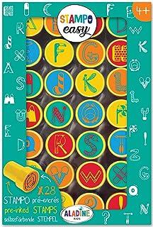 Aladine - Stampo Easy Alphabet - Kit de Tampons Pré-encrés Couleur - Jouets et Jeux Créatifs - Boîte de 28 Tampons Encrés...