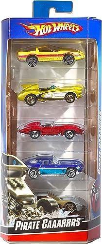 Hot Wheels Coffret 5 véhicules, jouet pour enfant de petites voitures miniatures, modèle aléatoire, 1806, 12, Noir