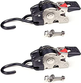 2 Quick n Easy AutoRetract Marine Strap Transom Tie Downs | Stainless Steel Retractable 1