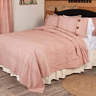 Piper Classics Homespun Red Ticking King Coverlet Bedspread, 97