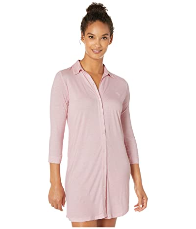 LAUREN Ralph Lauren 3/4 Sleeve Short Sleepshirt (Pink/White) Women