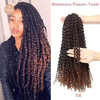 YIROO 6Pack Passion Twist Hair 18 inch Synthetic Water Wave Braids for Women Crochet Braiding Hair Extension New Hairstyle (18 inch, T30)