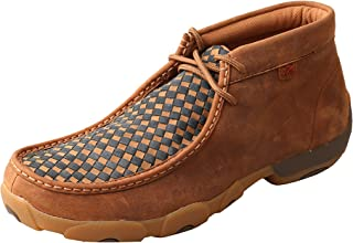 Twisted X Mens Leather Lace-Up Rubber Sole Moc Toe Driving Moccasins - Copper